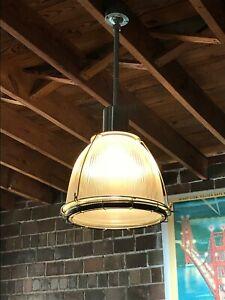 "VTG Holophane 16"" Industrial Warehouse Factory glass light fixture"