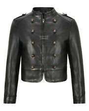 Woman's Military Black Short Zip Trough Decorative Buttons Real Leather Jacket