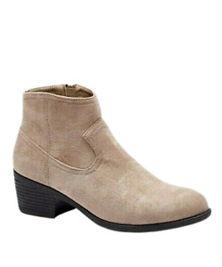 Womens Western Ankle Boots Size 7 to 7.5 Wide Fit Low Block Heel Beige Sand Zip