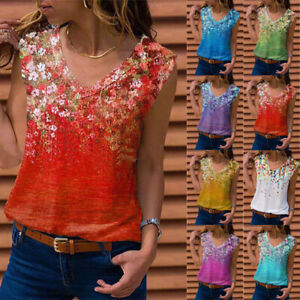 Summer Women V Neck Sleeveless Blouse Casual Floral Print T Shirt Loose Tank Top