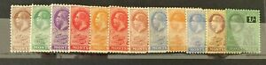 Stamps Montserrat 1922 Range of GV Values 1/4d to 3d (not 2d) & 1 shilling LMM
