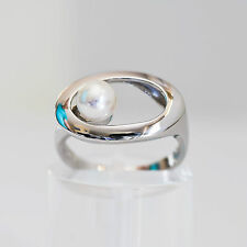 PEARL RING GENUINE 925 STERLING SILVER 6.2mm CULTURED  FRESHWATER RING PEARL NEW