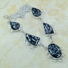 Natural Artesanal Obsidiano Copo De Nieve Plata de ley 925 Collar 45.7cm B5835