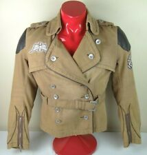 Icon Moto Womens Size Large Full Armor Cotton Motorcycle Jacket Tan Buckle NICE