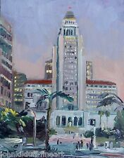 City Hall Los Angeles @ Night  Impressionism Cityscape John Kilduff 14x18