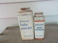 VTG JOHNSON'S BABY POWDER Tin/Metal JOHNSON & JOHNSON 9 OZ & 4OZ Empty.