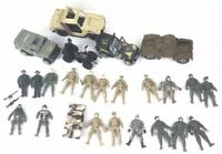 Mixed Lot Of 20 Military Action Figures 2 Accessories 6 Vehicles Toys