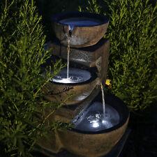 Solarbrunnen Gartenbrunnen Solar Wasserspiel für Garten Kaskadenbrunnen mit Akku
