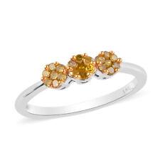 925 Plata Diamante Platino Rodio sobre Amarillo Promesa Anillo Tamaño 9 CT 0.25