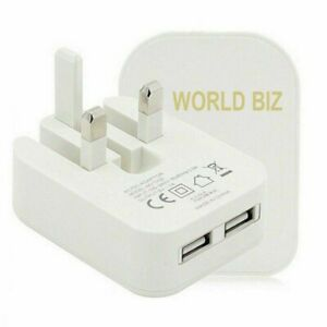 Mains 3 Pin UK Plug 2 AMP Dual 2 Port USB Adaptor Wall Charger Charging Phones