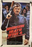 Vintage 80s Original Movie Poster Bronson Death Wish 4 27x41 One Sheet