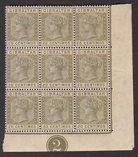 Gibraltar 1889-96 SG25 20c - Block of 9 with plate number 2 - MNH RARE (N58)