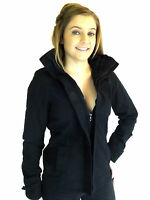 Ladies Soul Cal Cotton Jacket Black High Neckline Concealed Hood Zip 8 10 12