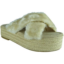 New Womens Ladies Faux Fur Platform Espadrilles Slip On Shoes Sandals Flats Size