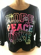 """Justice Girls Hooded Crop Top ~ """"Hope, Peace, Love"""" Size 14"""