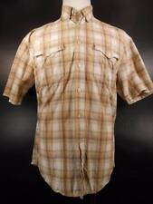 Cool Men's Large Roper Beige Plaid Long Sleeve Button Down Shirt GUC