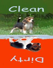 METAL DISHWASHER MAGNET Beagle Puppy Dog Red Green Clean Dirty Dishes MAGNET X
