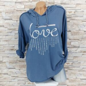 MADE IN ITALY Kapuzenpullover Sweater Hoodie Baumwolle Love Schrift blau 38-44
