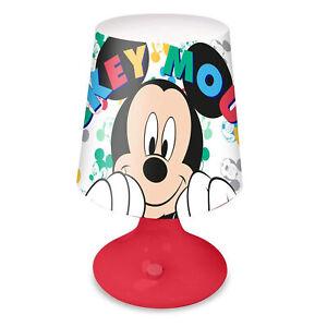 Lampada da notte comodino Disney Mickey Mouse luce a LED da tavolo bambini 3616