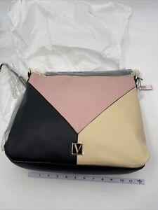 VICTORIA'S SECRET HOBO SHOULDER BAG  W/ZIPPER NWT New  Colorblock Pink Tan Black