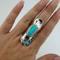 Hadar Designers Handmade 925 Sterling Silver Blue Opal Ring size 7,8,9,10(H 105b