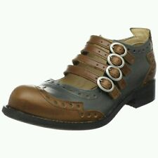 JOHN FLUEVOG ADRIANS: ALLI US 7 4-BUCKLE MARY JANE BROGUE SHOES BROWN GREEN