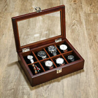 Wood Transparent Display Watch Jewelry Storage Holder Case 8 Slots Organizer Box