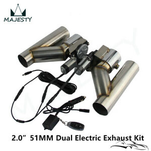 "2"" Dual Electric Exhaust Cutout Wireless Remote Control Dump Bypass Valve Kit"