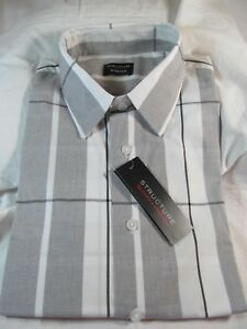 NWT Men's STRUCTURE SLIM FIT STRETCH LONG SLEEVE DRESS SHIRT, Core White & Black