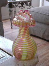 Victorian Antique Art Glass Thomas Webb English Threaded Vase