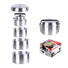 6pcs Aluminum Camping Cookware Set KingCamp Picnic Pot Gripper Kettle Frypan Kit