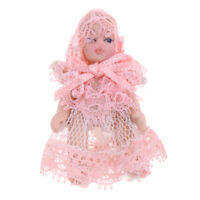 1/12 Porcelain Baby Doll in Lace Dress Dollhouse Miniature People Figures