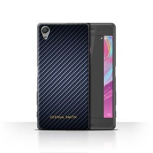 Personalised Carbon Fibre Effect Case Sony Xperia X/Blue Stamp Cover