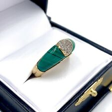 Vintage Mid-Century 14K Yellow Gold Diamond Pave Malachite Ring