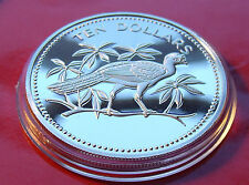 .925 PROOF-> 1975 BELIZE STERLING SILVER 10 DOLLARS  GREAT CURRASOW 40mm,