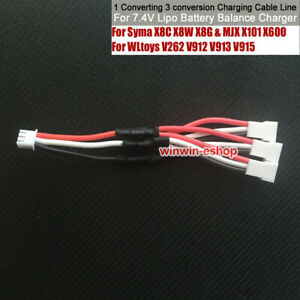 7.4V 1 to 3 Lipo Batterie Balance Charger Charging Cable for Syma X8C X8W X8G
