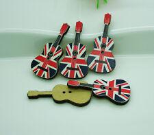 100PCs Union Jack Flag Patten Guitar Shape Wood Sewing Buttons Scrapbook 3.5cm