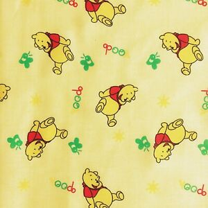 PolyCotton Fabric Kids Children Winnie The Pooh Cream Red Reduced Price Material
