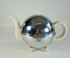 More details for vintage 1930s ever hot ceramic teapot with chrome cover has faults