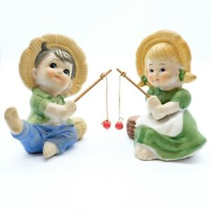 Vintage Girl and Boy Fishing Ornaments. Huckleberry Finn Style.
