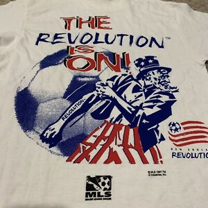 VTG New England Revolution Signed T Shirt MLS Soccer NWT New Youth Boys Large YL