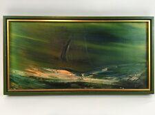 "Original Painting By Ivar Bruun Modern Impressionist Sailing Ship On Sea 12""X24"""