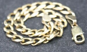 100% Genuine 9k Solid Yellow Gold Strong & Wide Curb Link Bracelet. 20cm