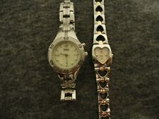 NOS FOSSIL BLUE & F2 HEART SET of WOMENS S.S. WATCHES AM-3911/ES-9766- NEW BATTS