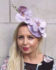 Lilac Orchid Flower Fascinator Hat Pillbox Wedding Races Vtg Light Purple 3085