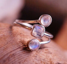 Silberring 58 Handarbeit Mondstein Silber Ring Modern Schlicht Bunt Blau Elegant