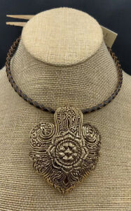 Barse Brocade Leather & Bronze Necklace- NWT