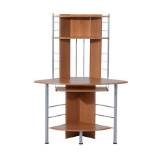 PC Table Computer Desk Corner Workstation Wood Storage Furniture Home Office