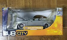 Dub City Ford Mustang Convertible 1:24 Jada Diecast Metal Silver Cartelli Wheels