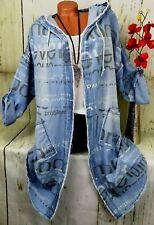 Jacke Tunika Bluse Blusenjacke Shirt Jeans Lagenlook Longshirt Kapuze Blau 44 46